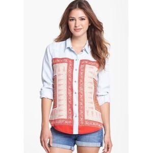 NWT Lucky Brand 'Dixie' Scarf Print Chambray Shirt